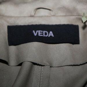 VEDA Jackets & Coats - VEDA Beige Leather Blazer Jacket Size M